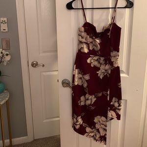 EUC Charlotte Russe Floral Midi Asymmetrical Dress